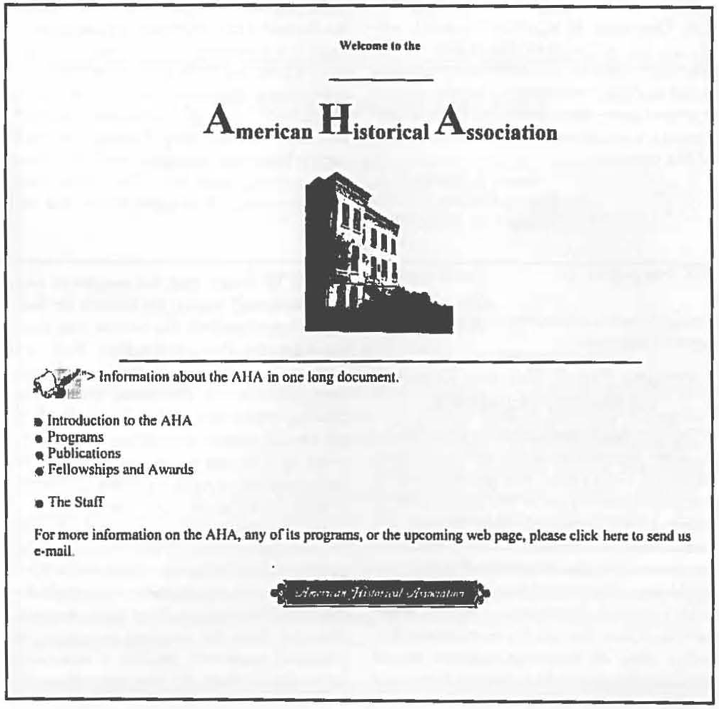 First AHA Web Page, 1995