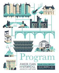 Program of the 132nd annual meeting, featuring graphics depicting the AHA townhouse, the Smithsonian Castle, the National Museum for African American History and Culture, and other landmarks