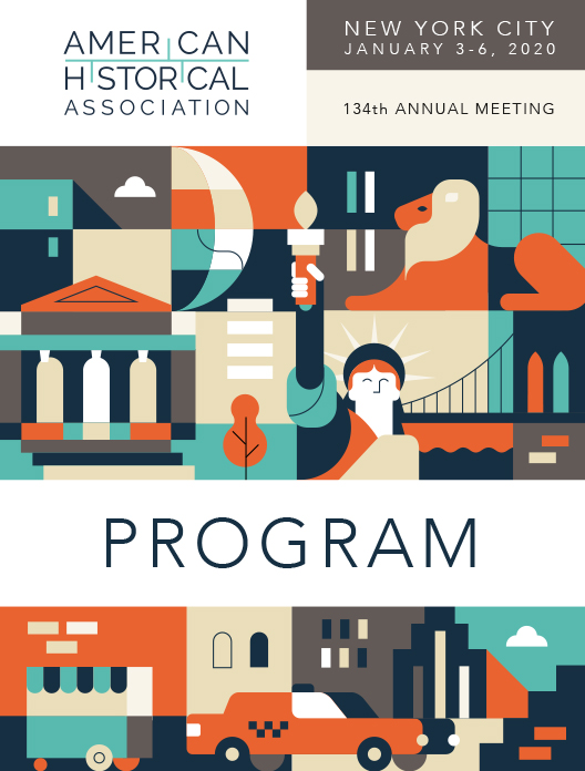 Program cover of the 134th annual meeting, featuring a graphic depicting familiar features of New York architecture and public transportation