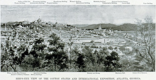 The Cotton States and International Exposition of 1895, held in present-day Piedmont Park in Atlanta, as visualized in Harper's Magazine. Despite the Negro Building's marginalized location, it was a point of pride among African Americans throughout the South. Credit: Library of Congress.