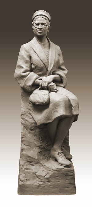 Daub and Firmin's Rosa Parks in clay. The finished bronze sculpture, dedicated 23 days after Mrs. Parks's 100th birthday, sits in the United States Capitol Statuary Hall. Credit: Eugene Daub.