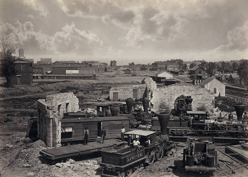 In 1866, photographer George N. Bernard captured the destruction of Atlanta in the Civil War, including the railroad roundhouse in ruins. Library of Congress Prints and Photographs Division.