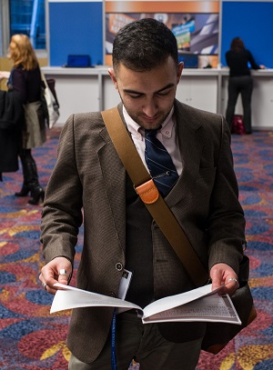 A historian peruses opportunities at last year's annual meeting Career Fair in New York City. Photo by Mark Monaghan.