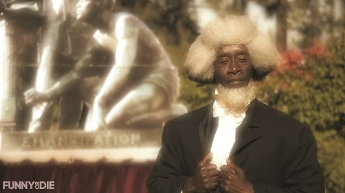 "Don Cheadle as Frederick Douglass offers wry (or is it rye?) commentary on the ""Great Emancipator."""