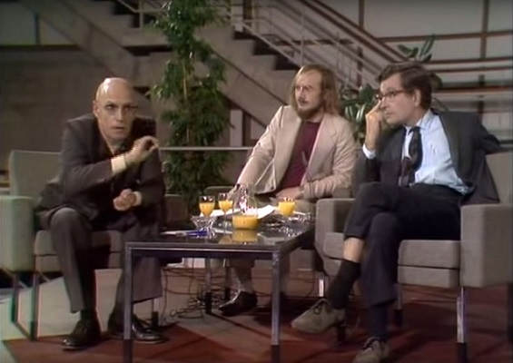 Still from Noam Chomsky and Michel Foucault—Human Nature—Justice Versus Power. Courtesy of Icarus Films. Incitement to discourse: Michel Foucault, Dutch TV host Fons Elders, and Noam Chomsky in 1971.