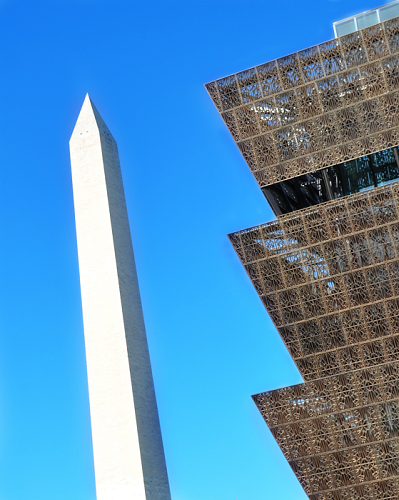 The Washington Monument and the National Museum of African American History and Culture on the National Mall in Washington, DC. Gina Whiteman
