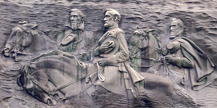 Georgia's Stone Mountain monument depicts Confederate leaders Stonewall Jackson, Robert E. Lee, and Jefferson Davis. Jim Bowen/Wikimedia Commons