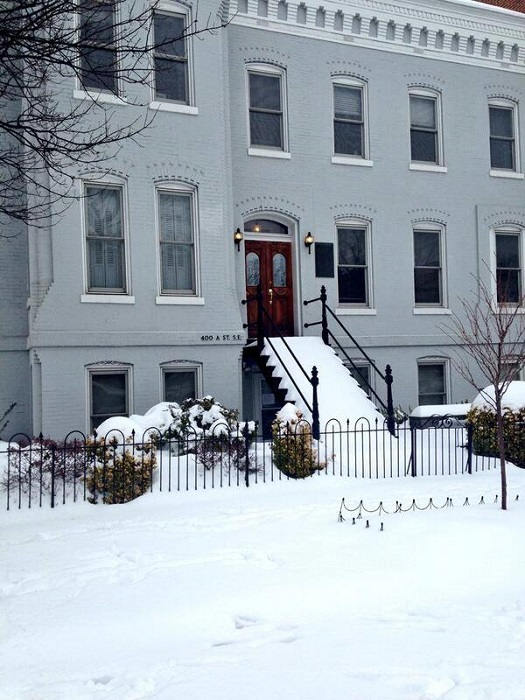 The AHA townhouse after snowfall.
