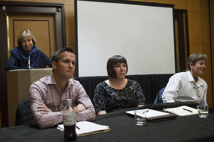 "The session ""The LGBTQ Historians Task Force Report: Where Do We Go from Here?"" at the 2016 annual meeting. From left: Mary Louise Roberts, Nicholas L. Syrett, La Shonda Mims, and Leisa D. Meyer. Marc Monaghan"