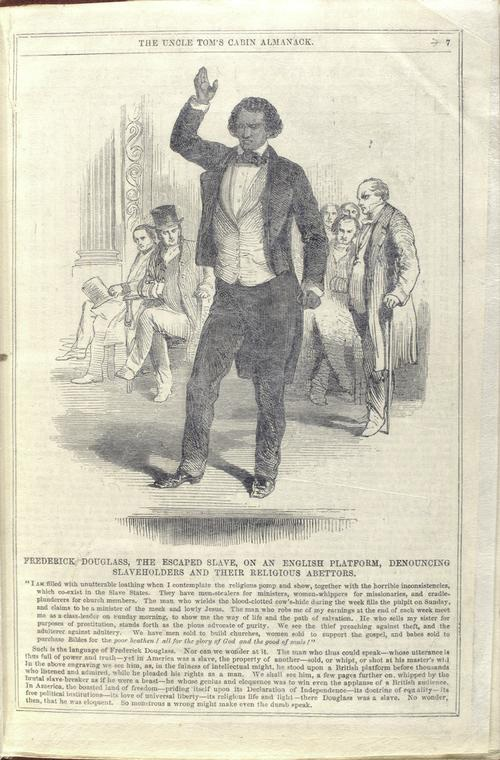 The abolitionist and escaped slave Frederick Douglass lectured throughout Britain and Ireland in the 1840s. This image appeared in The Uncle Tom's Cabin Almanack, a British abolitionist pamphlet of 1852. Schomburg Center for Research in Black Culture/New York Public Library