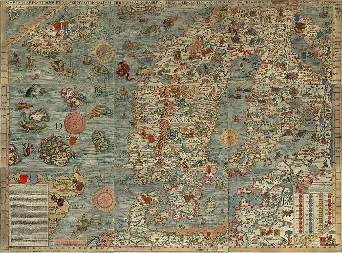 Unlike early explorers' maps full of monsters, Career Diversity for Historians seeks to ease navigating the sea of uncertainty many graduate students face after the PhD. Olaus Magnus, Carta Marina (2nd ed., 1672). Wikimedia Commons