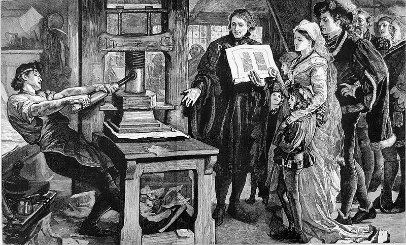 Commemorating 400 years of printing, this 1877 image from The Graphic portrays 15th-century printer William Caxton showing samples to the royal family. Wikimedia Commons