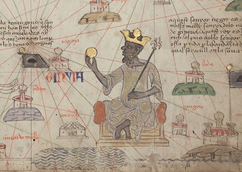 The Malian emperor Mansa Musa depicted on a 14th-century Catalan map (Credit: BnF Gallica via Wikimedia Commons)
