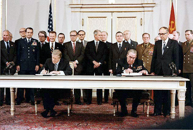 Jimmy Carter and Leonid Brezhnev sign the Strategic Arms Limitation Talks (SALT II) treaty in Vienna in June 1979. Wikimedia Commons