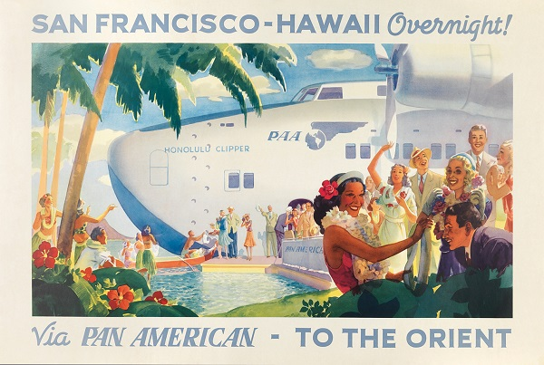 After a series of test flights, Pan Am began offering passenger service between San Francisco and Hawai`i in 1936. A round-trip flight to Honolulu cost $648 at the time. Frank H. McIntosh (1939). Copyright Callisto Publishers
