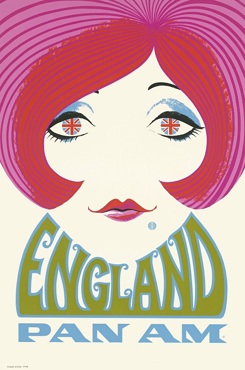 This poster advertising travel to England showcases the artistry and the talent of the many, now forgotten, designers employed by Pan Am. Notice the iconic blue Pan Am logo as the mole on the woman's face and the British flags in her eyes. Anonymous (1969). Copyright Callisto Publishers