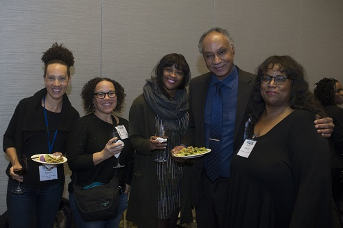 Incoming AHA president Tyler Stovall at the Committee on Minority Historians reception, with Minayo Nasiali, Marisa Fuentes, Tanisha Ford, and Robin Mitchell (from left).