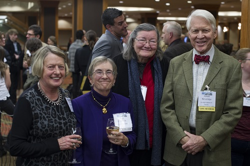 AHA luminaries Barbara Ramusack, Ann Twinam, Mary Karasch, and Albert Beveridge (from left) shine at the Welcome Reception.