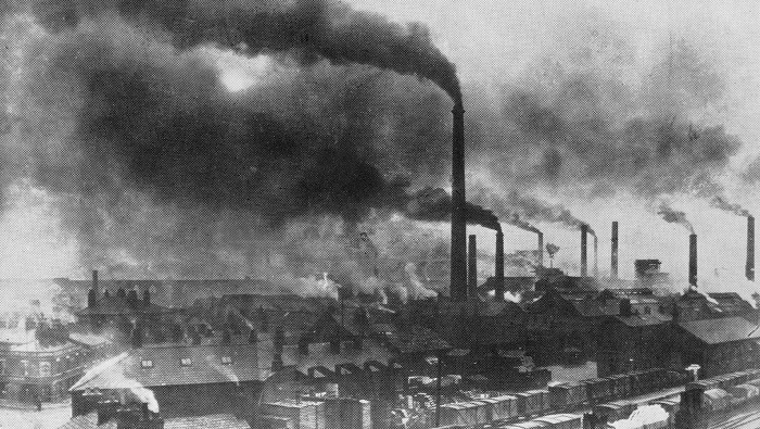 Some historians say the Anthropocene started during the Industrial Revolution (symbolized by 19th-century factories, like this one in Widnes, England). Wikimedia Commons