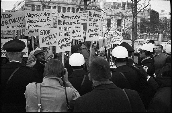 "Shortly after ""Bloody Sunday"" in Selma, Alabama, in March 1965, civil rights activists outside the White House demand voting rights for African Americans. Library of Congress"