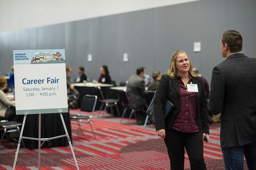 The Career Fair at the 2017 annual meeting attracted more than 100 visitors over three hours. Marc Monaghan