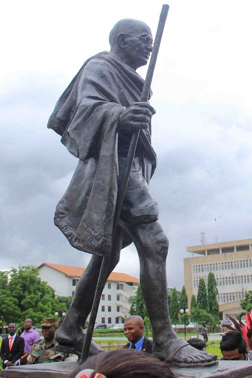 Soon after its unveiling, this statue of Gandhi at the University of Ghana in Accra became the center of a controversy over racism and colonialism in Ghana's past. MEAphotogallery/Flickr