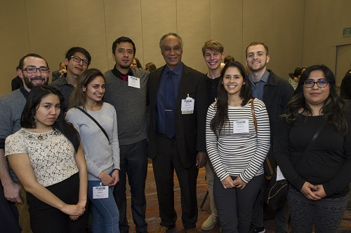 AHA president Tyler Stovall (center) greets a student group from Humboldt State University at the 2017 AHA annual meeting in Denver. Students must be central to historians' practice. Marc Monaghan