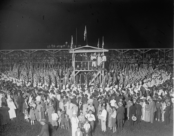 A Klan gathering c. 1925, location unknown. National Photo Company Collection/Library of Congress