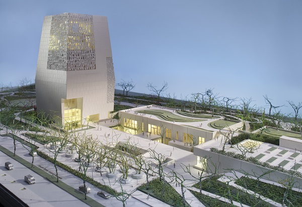 A rendering of the planned Obama Presidential Center in Chicago, Illinois. The center will not include a library for the study of the papers of the Obama administration. The Obama Foundation