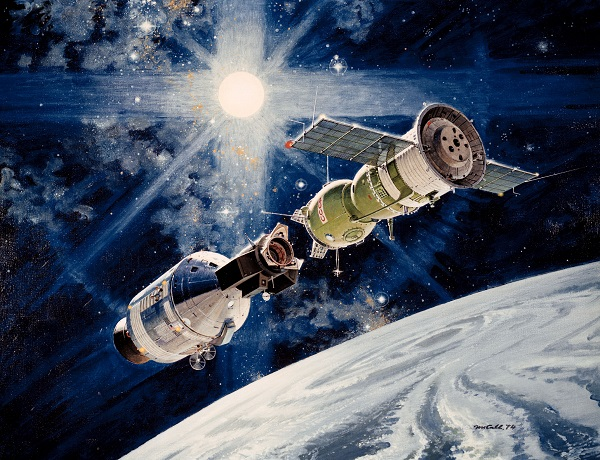 An artist's rendering of the docking of the two spacecraft on the Apollo-Soyuz mission, 1973. NASA/Wikimedia Commons