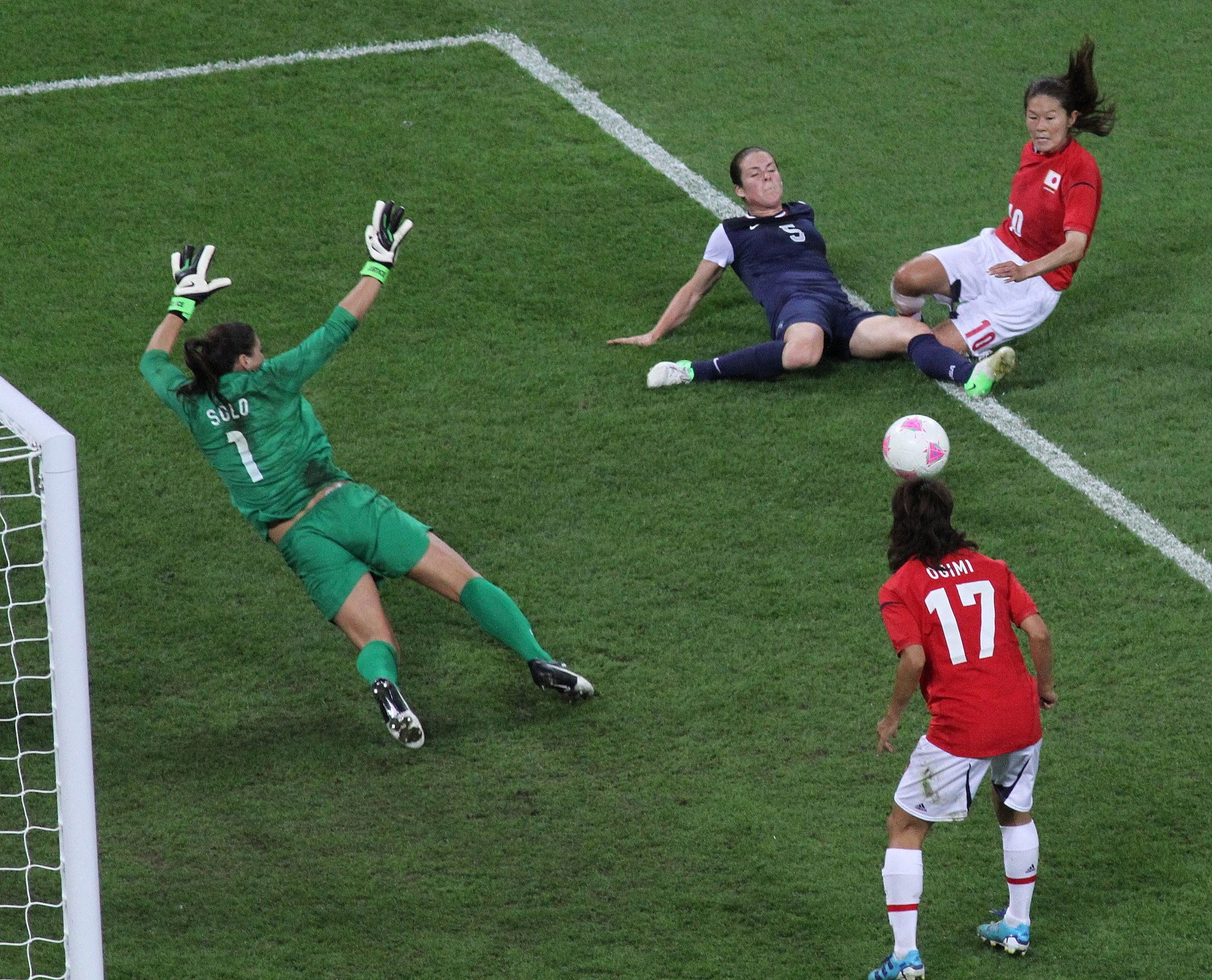 Yuki Ogimi scores a goal for Japan against the United States in the 2012 Olympic gold medal match for women's soccer.