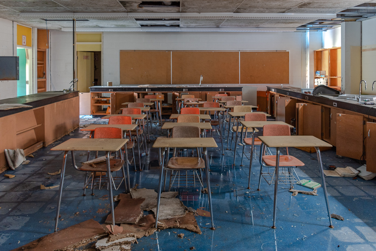 An abandoned high school classroom.