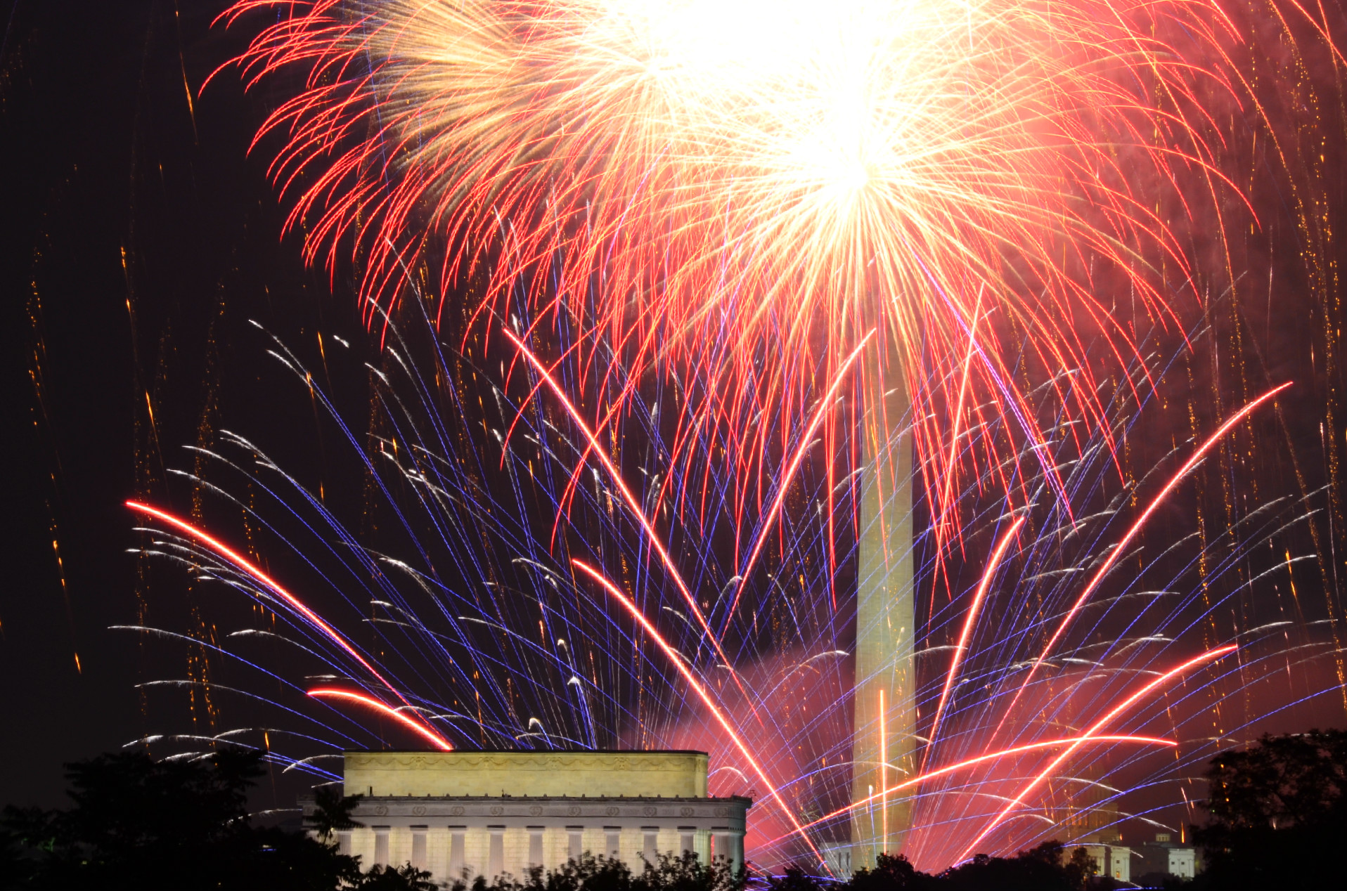 Fireworks in DC on the Fourth of July.
