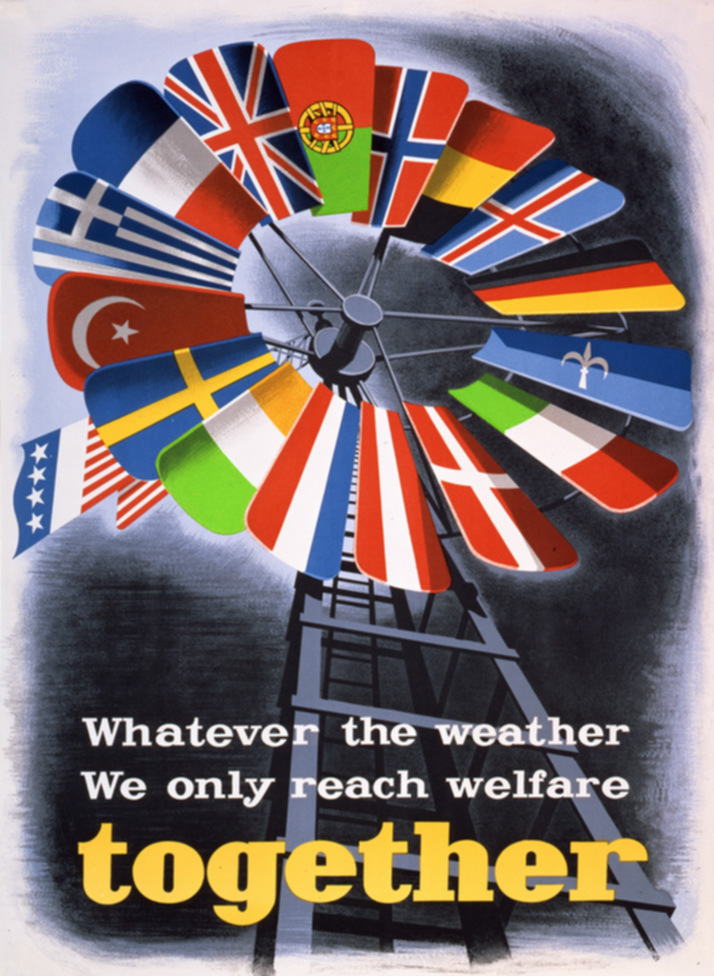 "A poster created by the US government to promote the Marshall Plan in Europe. The poster shows the flags of Western European countries receiving aid through the Marshall Plan, arranged in the shape of a windmill, and includes the text: ""Whatever the weather we only reach welfare together."""
