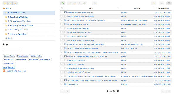 "A screenshot of the ""Course Resources"" folder for the course Practice of History, fall 2018."