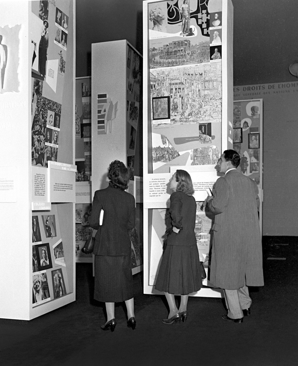 At the UNESCO exhibition to mark the first anniversary of the United Nations Universal Declaration of Human Rights, Musée Galliéra, Paris, October 1949.