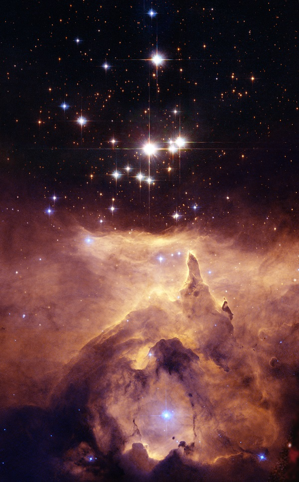 A star cluster in an emission nebula.