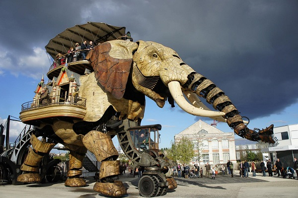 The Grand Elephant at the steampunk park Les Machines de l'île, Nantes, France.