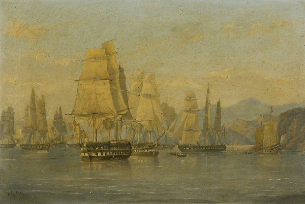 A British squadron sails from Hong Kong to attack Amoy or Xiamen in China, 1841.