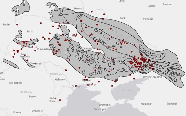 Fig. 2. Map of POW camp locations in Ukraine and coal basins, 1942–54.