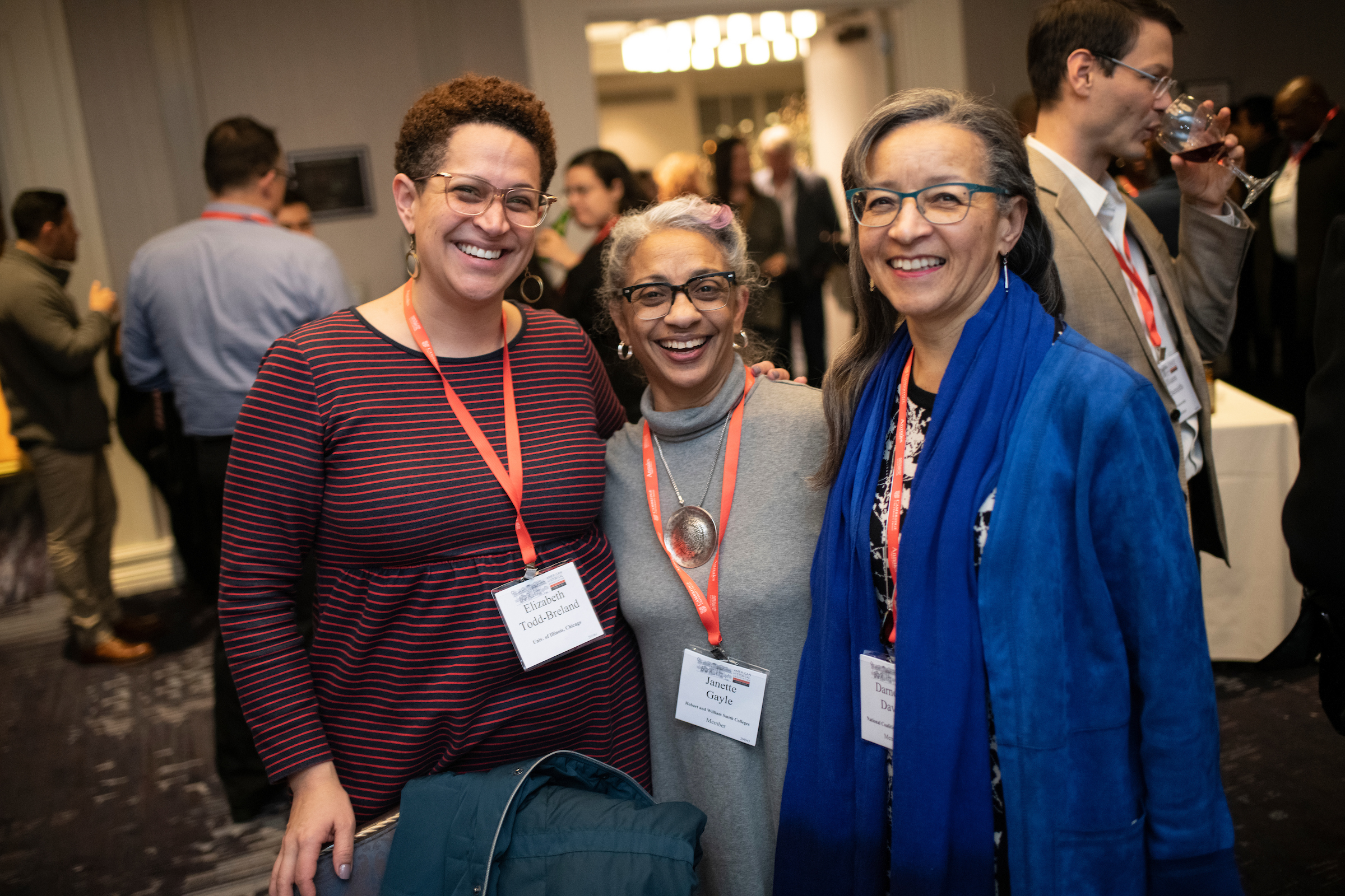 Elizabeth Todd-Breland, Janette Gayle, and Darnella Davis (from left) at the Committee on Minority Historians reception.