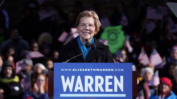 Elizabeth Warren announced her candidacy for the 2020 US presidency at a February 2019 rally in Lawrence, MA.
