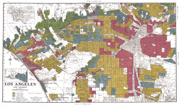 A redlining map of Los Angeles from the digital project Mapping Inequality.
