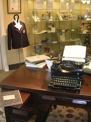 Antique president's desk and exhibits in the Hood College Museum.