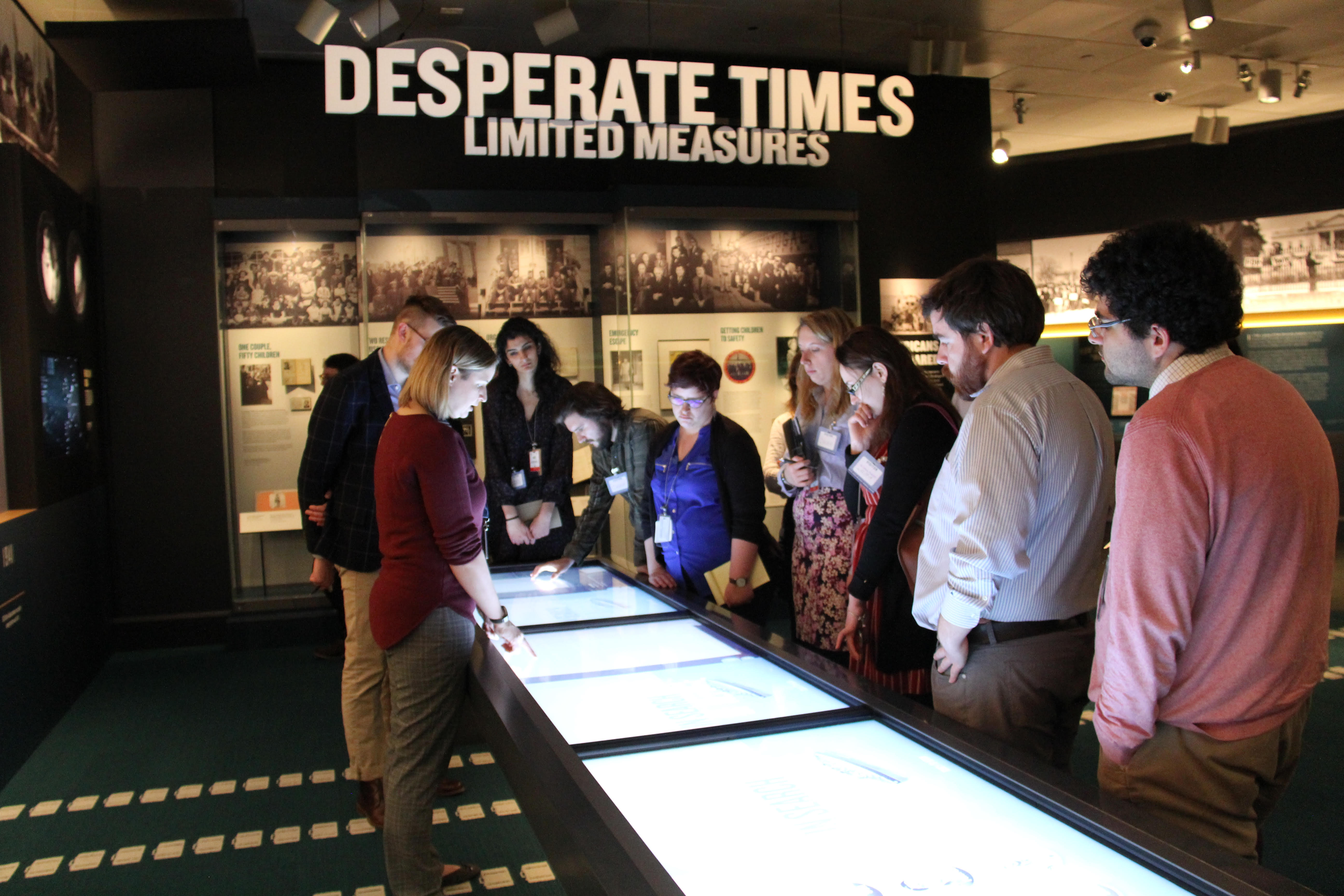 Graduate students from the University of Michigan visit the United States Holocaust Memorial Museum in Washington, DC.