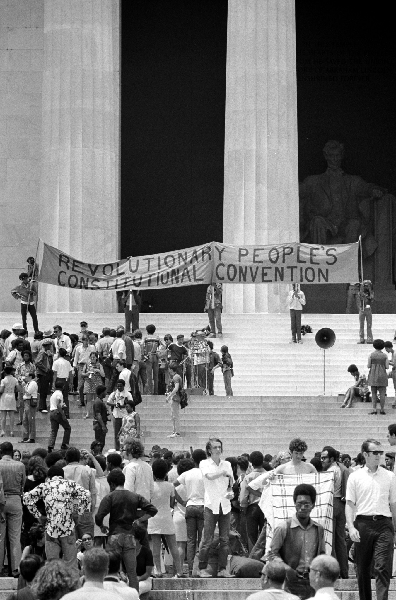 Demonstrators attend a 1970 Black Panter Party Convention at the Lincoln Memorial.