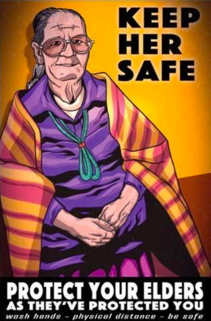 Poster encouraging hand-washing in order to protect Diné elders by artist Dale Deforest (Diné/Navajo).