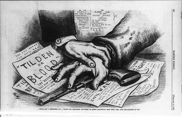 "Cartoonist Thomas Nast depicted the Compromise of 1877 as a ""truce, not a compromise."