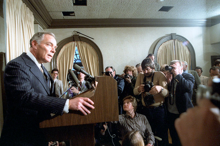 Secretary of State Alexander Haig spoke to the Press about President Reagan's condition in the White House Press room on March 30, 1981.