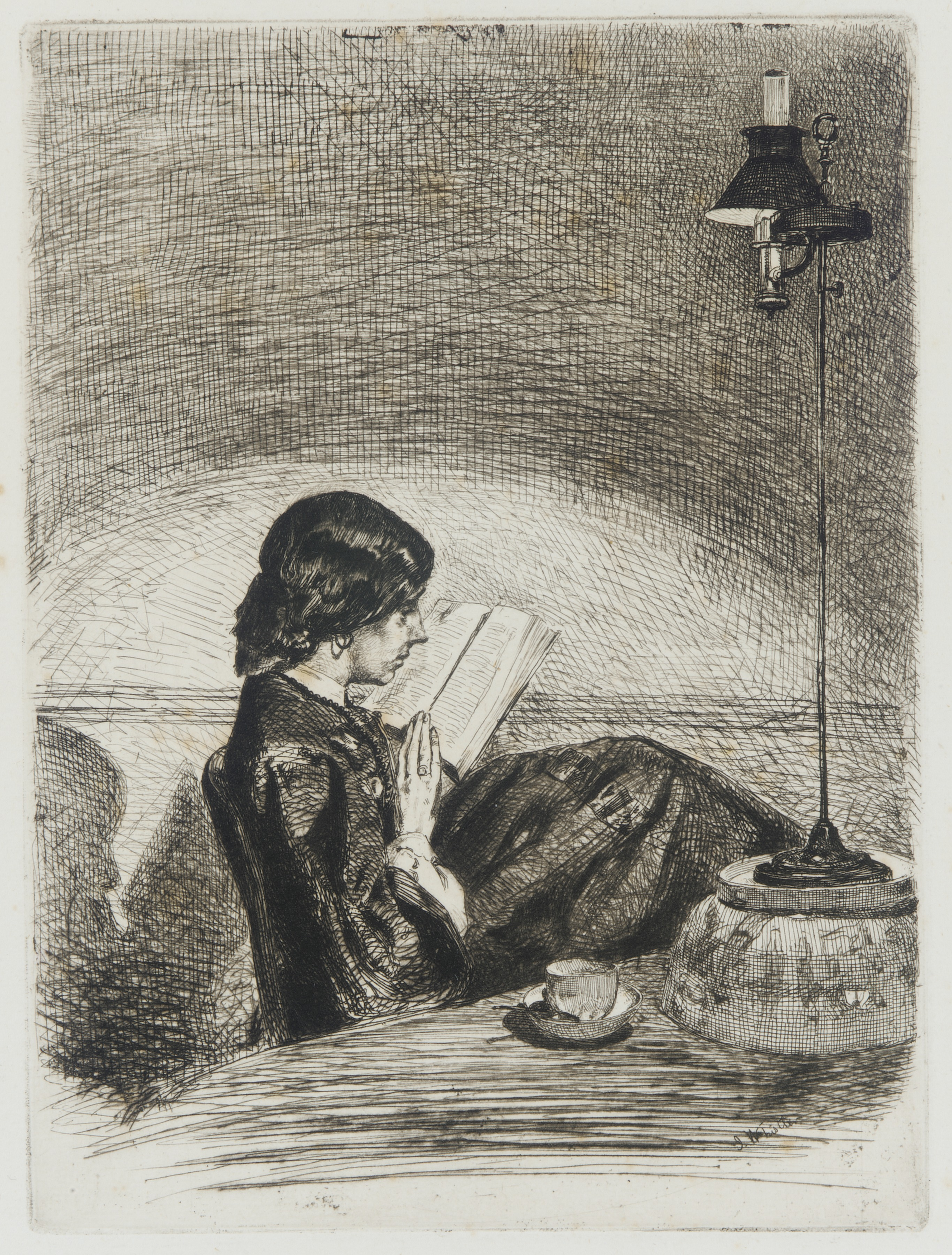 James McNeill Whistler, Reading by Lamplight (1858)